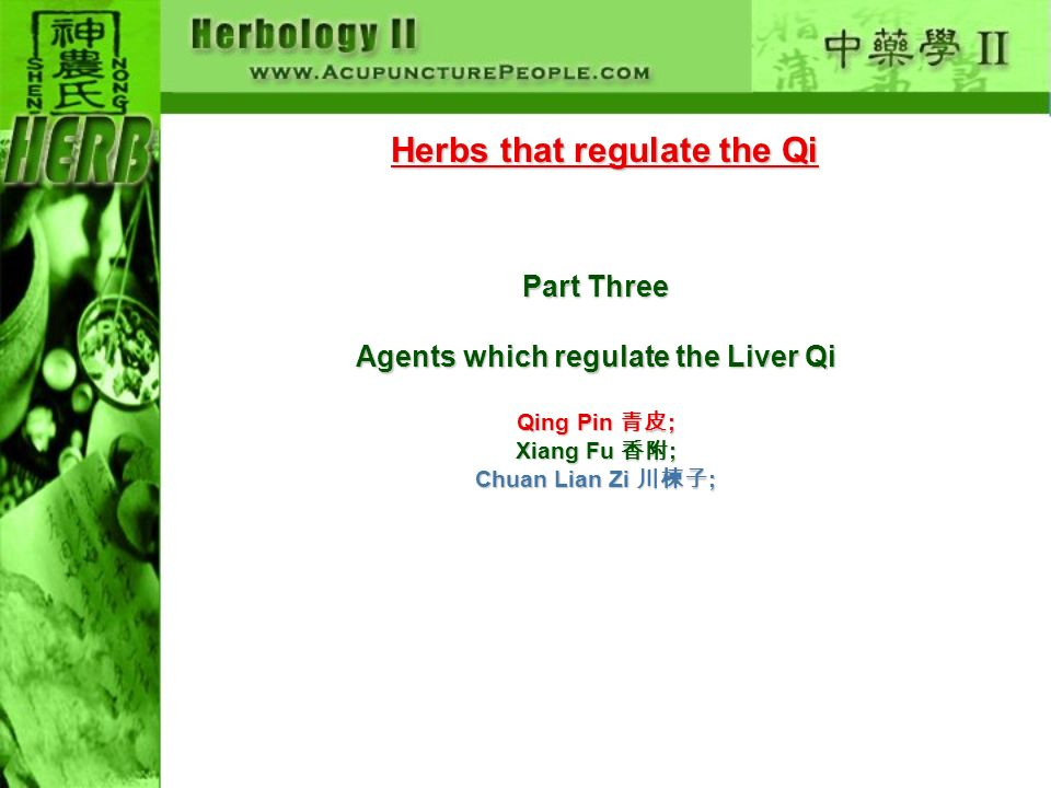 Herbs that regulate the Qi Part Three Agents which regulate the Liver Qi Qing Pin ; Xiang Fu ; Chuan Lian Zi ;