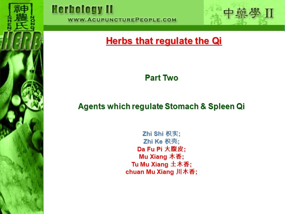 Herbs that regulate the Qi Part Two Agents which regulate Stomach & Spleen Qi Zhi Shi ; Zhi Ke ; Da Fu Pi ; Mu Xiang ; Tu Mu Xiang ; chuan Mu Xiang ;