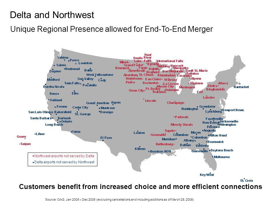 Midwest #1 #1 Northeast Southeast Southwest #5 #5 RockyMountain #2 #2 West#3 Source: US DOT revenue 4Q ended 1Q08 Delta and Northwest Domestic Strengt