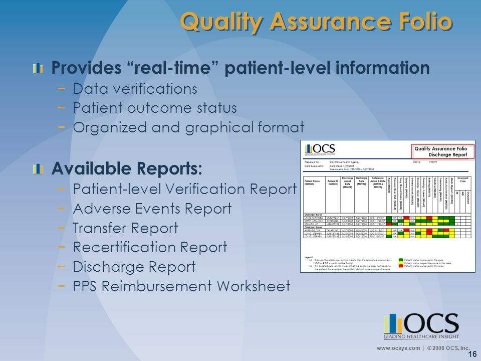 www.ocsys.com © 2008 OCS, Inc. 16 Quality Assurance Folio Provides real-time patient-level information Data verifications Patient outcome status Organ