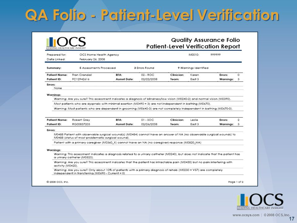 www.ocsys.com © 2008 OCS, Inc. 17 QA Folio - Patient-Level Verification