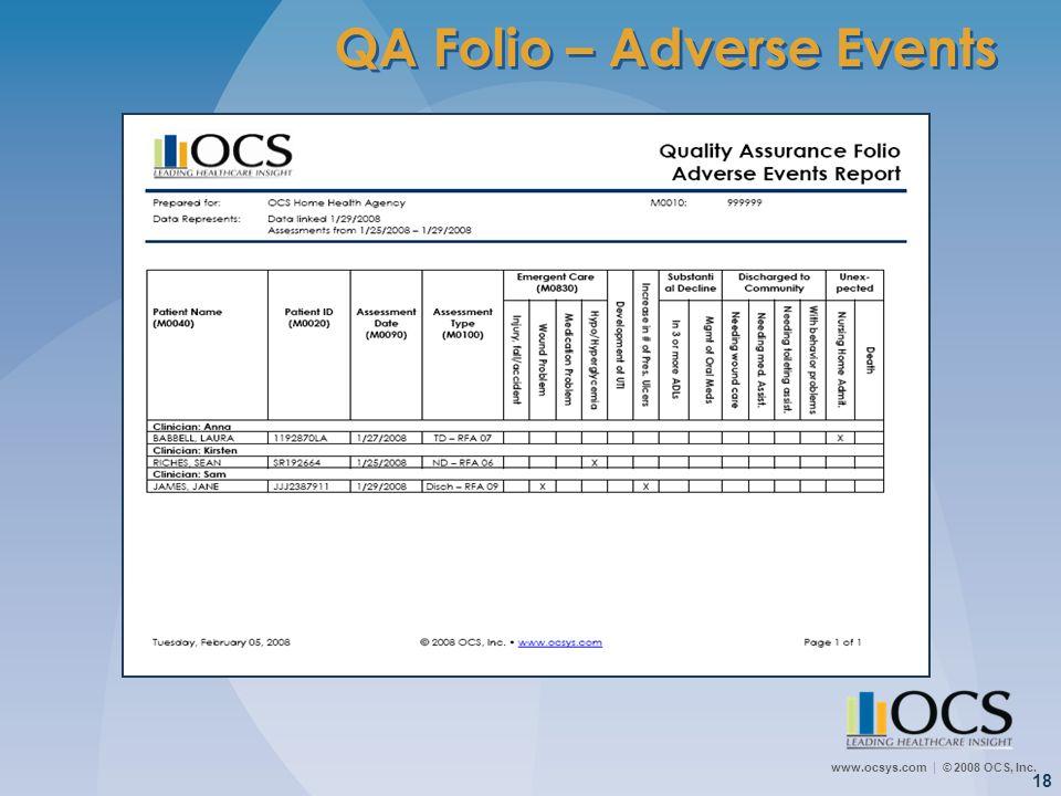 www.ocsys.com © 2008 OCS, Inc. 18 QA Folio – Adverse Events
