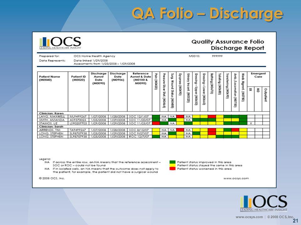 www.ocsys.com © 2008 OCS, Inc. 21 QA Folio – Discharge