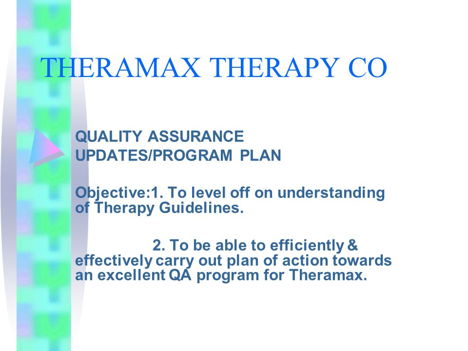THERAMAX THERAPY CO QUALITY ASSURANCE UPDATES/PROGRAM PLAN Objective:1. To level off on understanding of Therapy Guidelines. 2. To be able to efficien