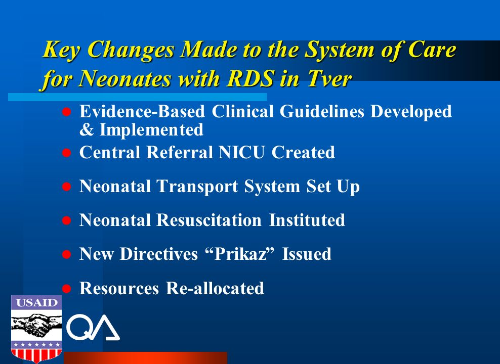 Key Changes Made to the System of Care for Neonates with RDS in Tver Evidence-Based Clinical Guidelines Developed & Implemented Central Referral NICU