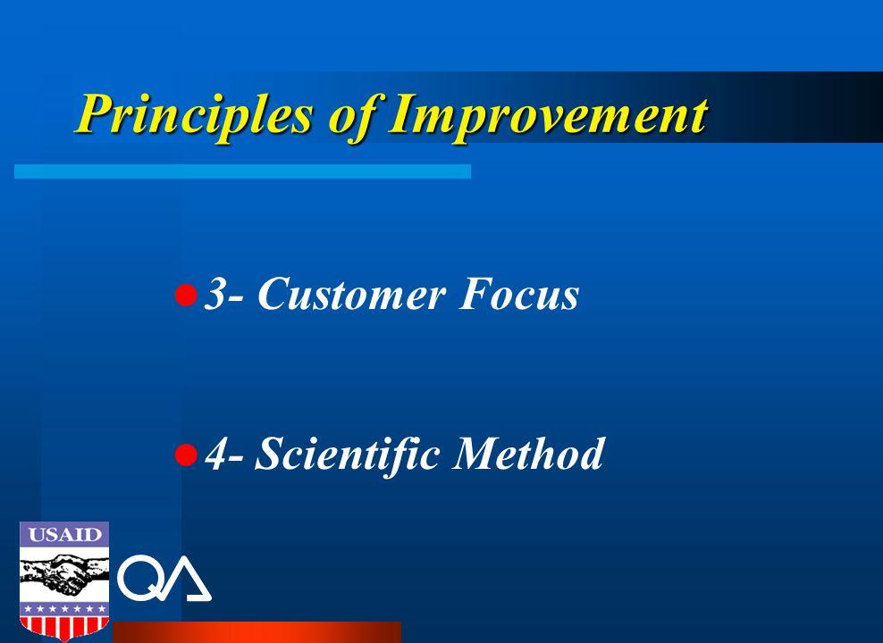 Principles of Improvement 3- Customer Focus 4- Scientific Method