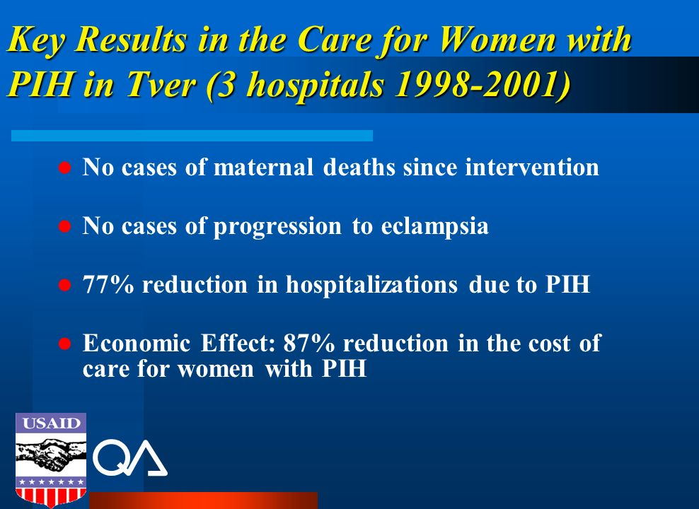 Key Results in the Care for Women with PIH in Tver (3 hospitals 1998-2001) No cases of maternal deaths since intervention No cases of progression to e