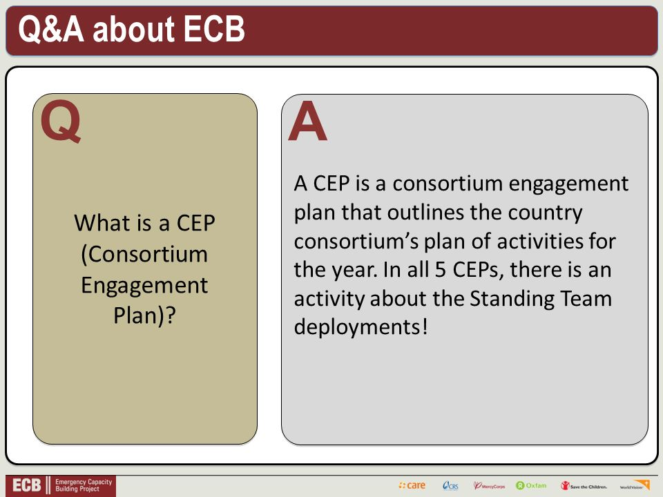 Q&A about ECB .What is a CEP (Consortium Engagement Plan).