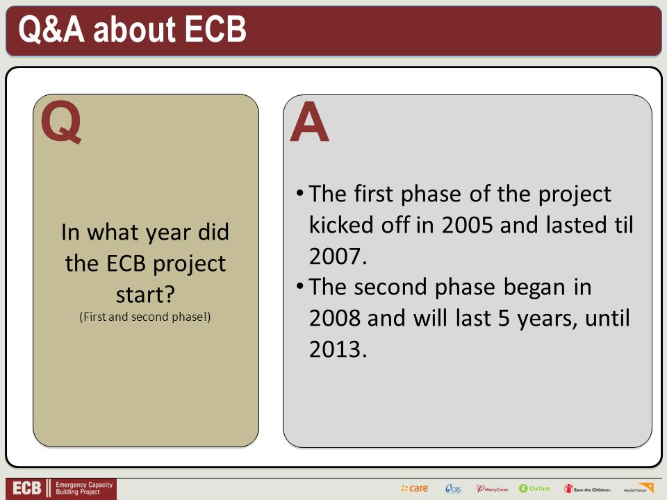 Q&A about ECB .In what year did the ECB project start.