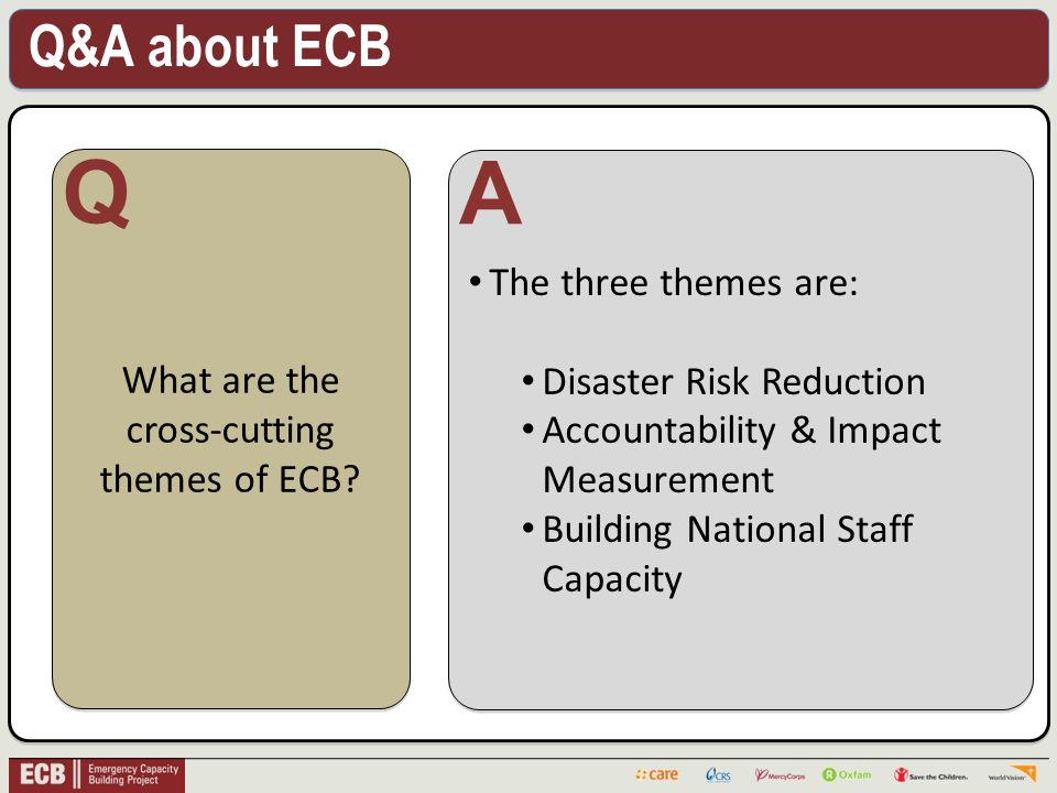 Q&A about ECB . What are the cross-cutting themes of ECB.