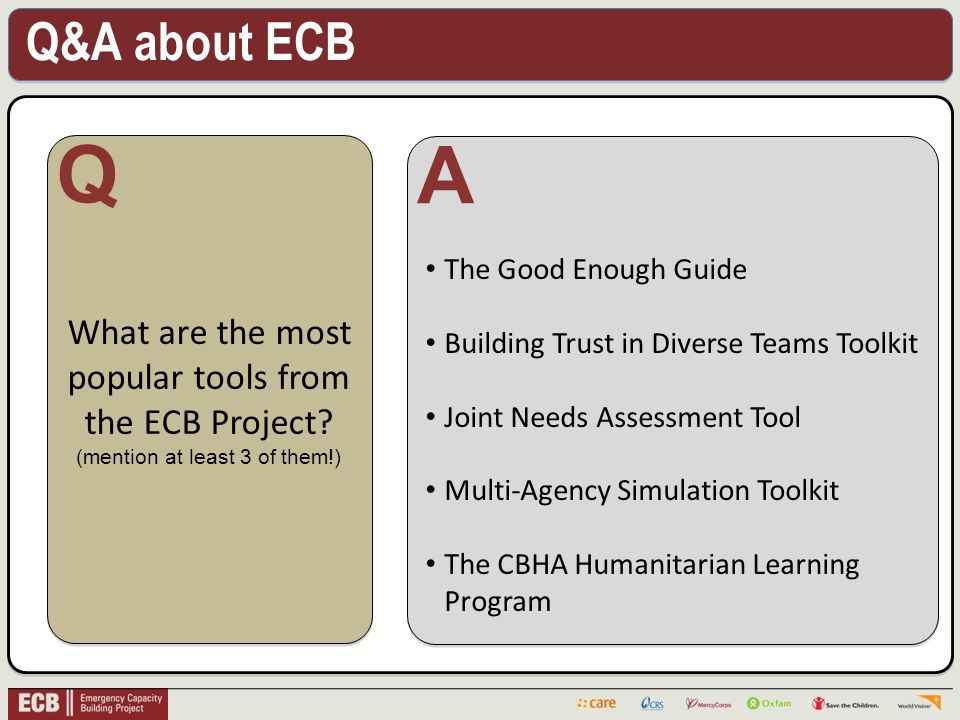 Q&A about ECB . What are the most popular tools from the ECB Project.