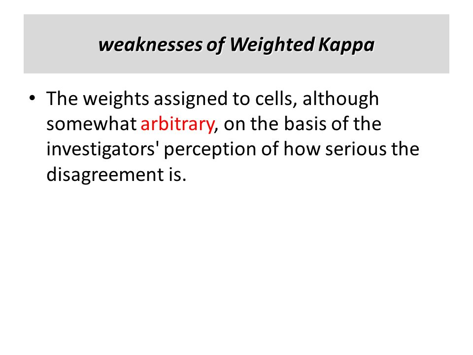 weaknesses of Weighted Kappa The weights assigned to cells, although somewhat arbitrary, on the basis of the investigators' perception of how serious