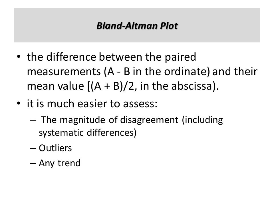 the difference between the paired measurements (A - B in the ordinate) and their mean value [(A + B)/2, in the abscissa). it is much easier to assess: