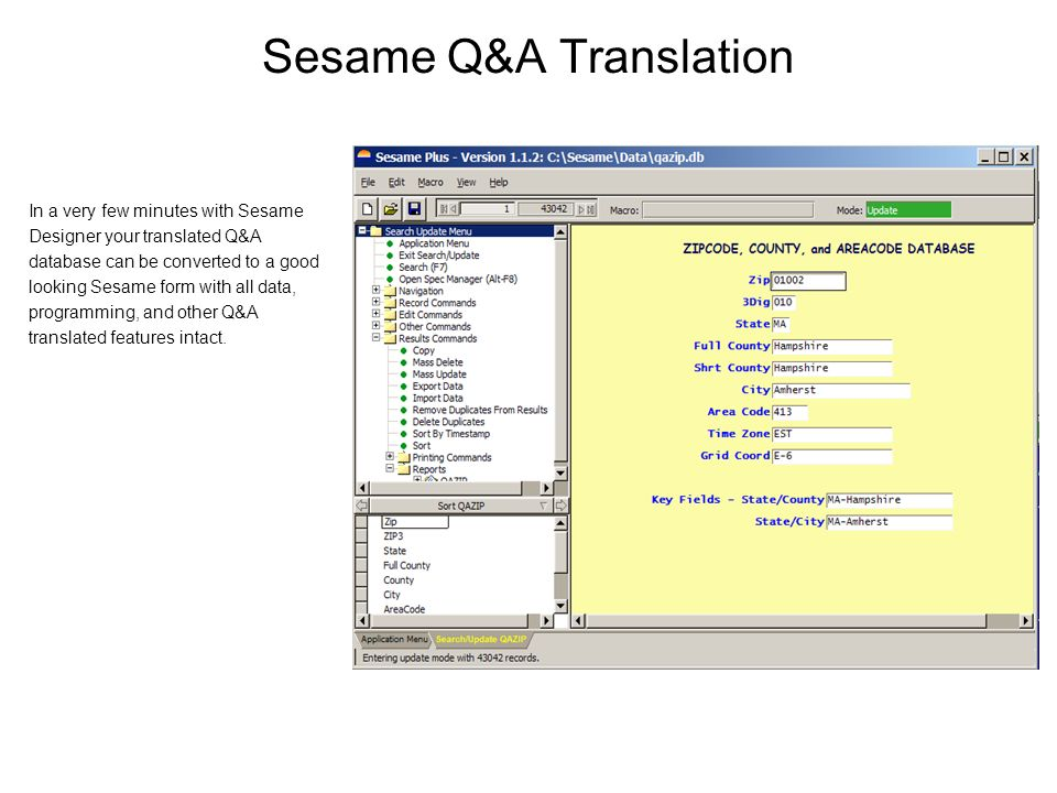 Sesame Q&A Translation In a very few minutes with Sesame Designer your translated Q&A database can be converted to a good looking Sesame form with all data, programming, and other Q&A translated features intact.