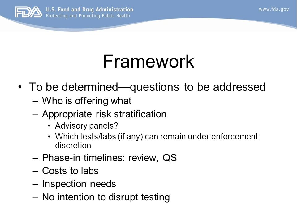 Framework To be determinedquestions to be addressed –Who is offering what –Appropriate risk stratification Advisory panels? Which tests/labs (if any)
