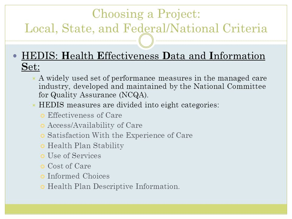 Choosing a Project: Local, State, and Federal/National Criteria HEDIS: H ealth E ffectiveness D ata and I nformation S et: A widely used set of perfor