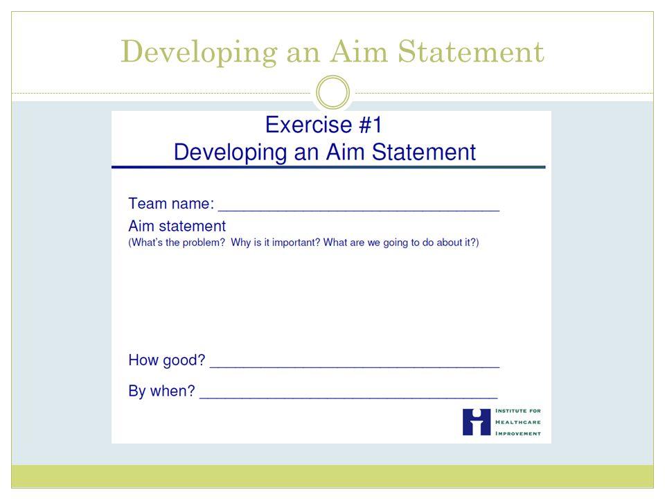 Developing an Aim Statement