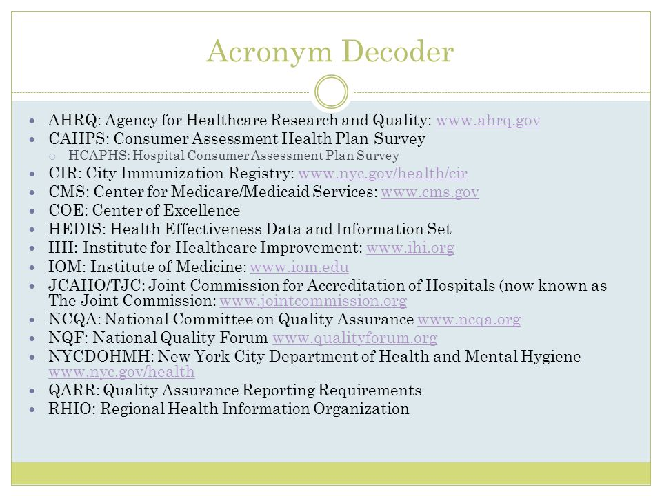 Acronym Decoder AHRQ: Agency for Healthcare Research and Quality: www.ahrq.govwww.ahrq.gov CAHPS: Consumer Assessment Health Plan Survey HCAPHS: Hospi