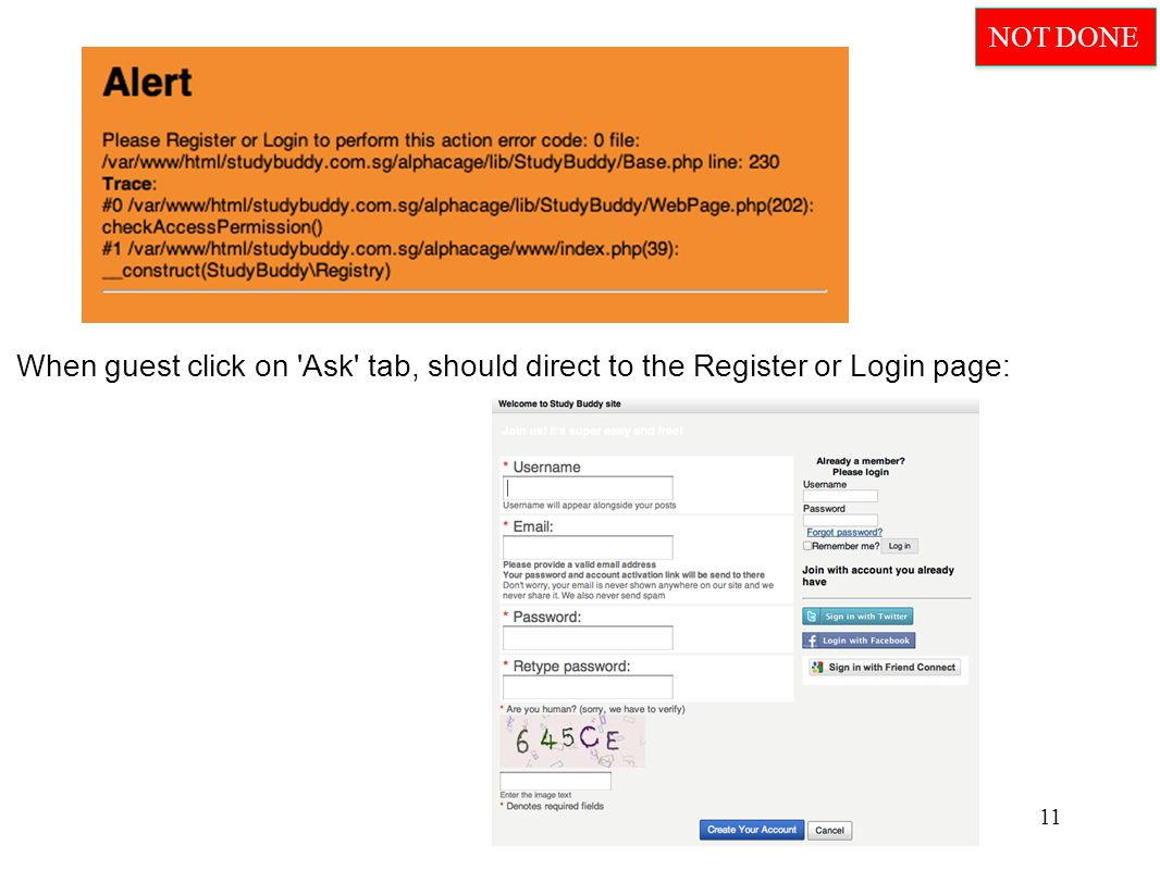When guest click on Ask tab, should direct to the Register or Login page: 11 NOT DONE