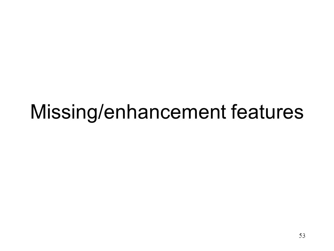 Missing/enhancement features 53
