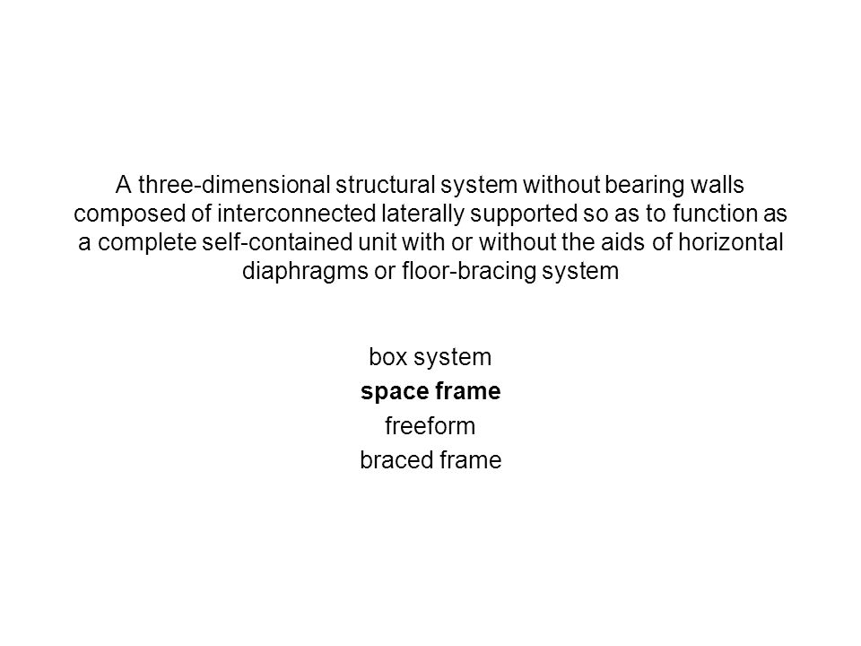 A three-dimensional structural system without bearing walls composed of interconnected laterally supported so as to function as a complete self-contai