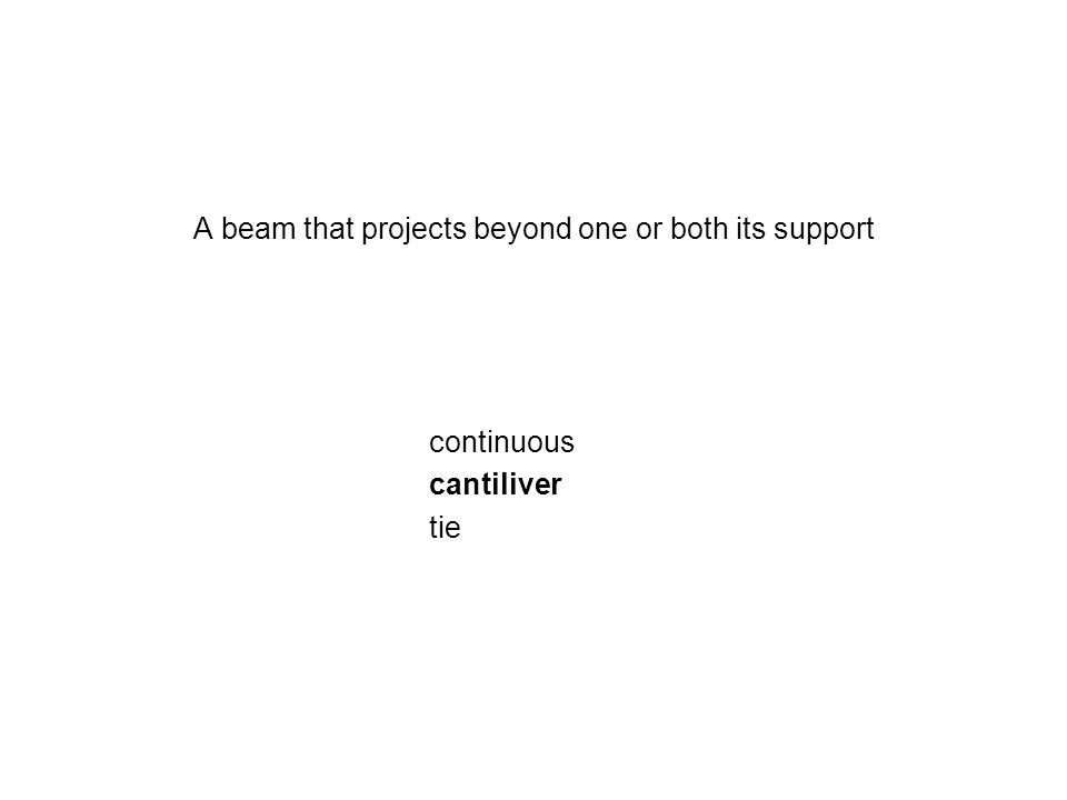 A beam that projects beyond one or both its support continuous cantiliver tie