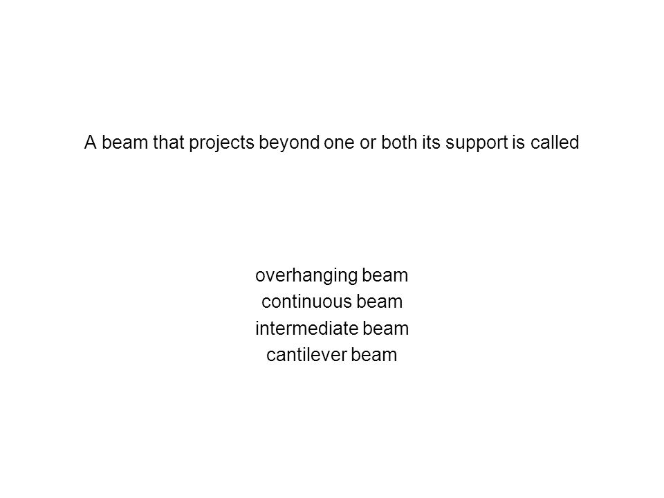 A beam that projects beyond one or both its support is called overhanging beam continuous beam intermediate beam cantilever beam