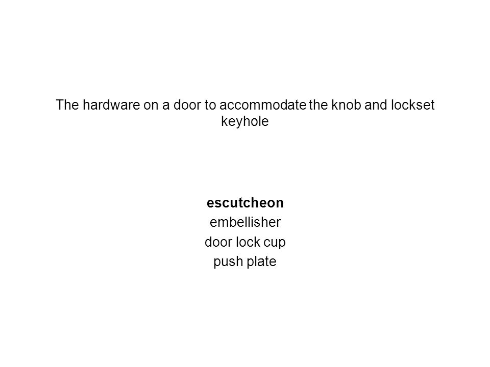The hardware on a door to accommodate the knob and lockset keyhole escutcheon embellisher door lock cup push plate