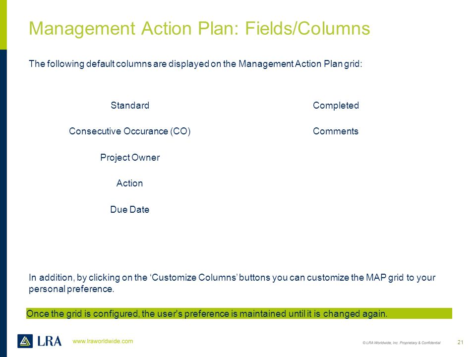 Management Action Plan: Overview The MAP permission levels are as follows: 20 PendingSubmittedApprovedDeniedCompleted GM All functionality availableLi