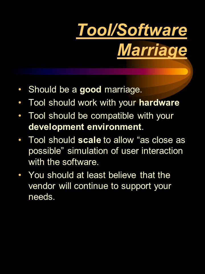 Tool/Software Marriage Should be a good marriage.