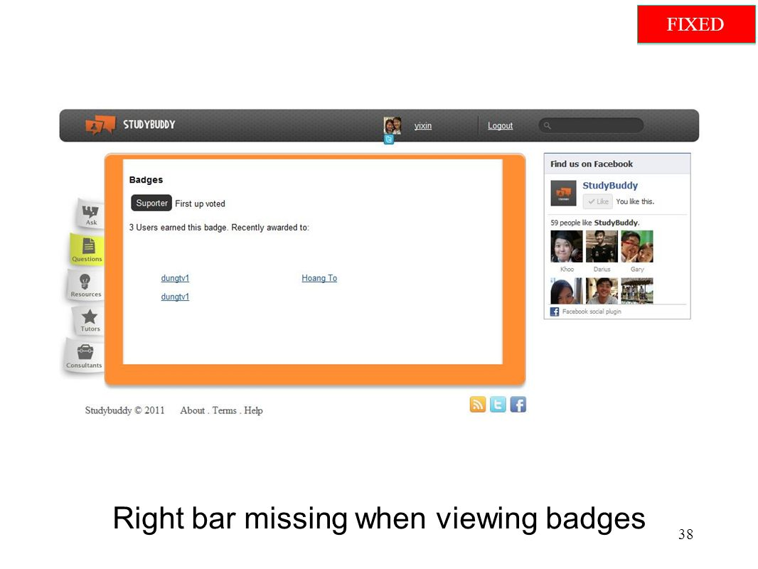 Right bar missing when viewing badges 38 FIXED