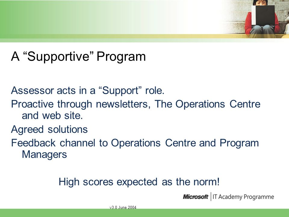 v3.0 June 2004 A Supportive Program Assessor acts in a Support role.