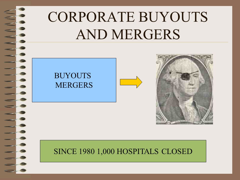 SINCE 1980 1,000 HOSPITALS CLOSED BUYOUTS MERGERS
