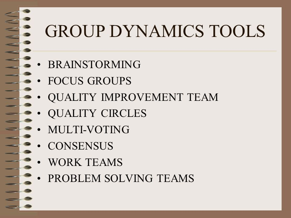 GROUP DYNAMICS TOOLS BRAINSTORMING FOCUS GROUPS QUALITY IMPROVEMENT TEAM QUALITY CIRCLES MULTI-VOTING CONSENSUS WORK TEAMS PROBLEM SOLVING TEAMS