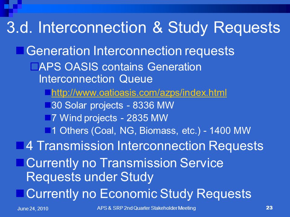 23 Generation Interconnection requests APS OASIS contains Generation Interconnection Queue http://www.oatioasis.com/azps/index.html 30 Solar projects