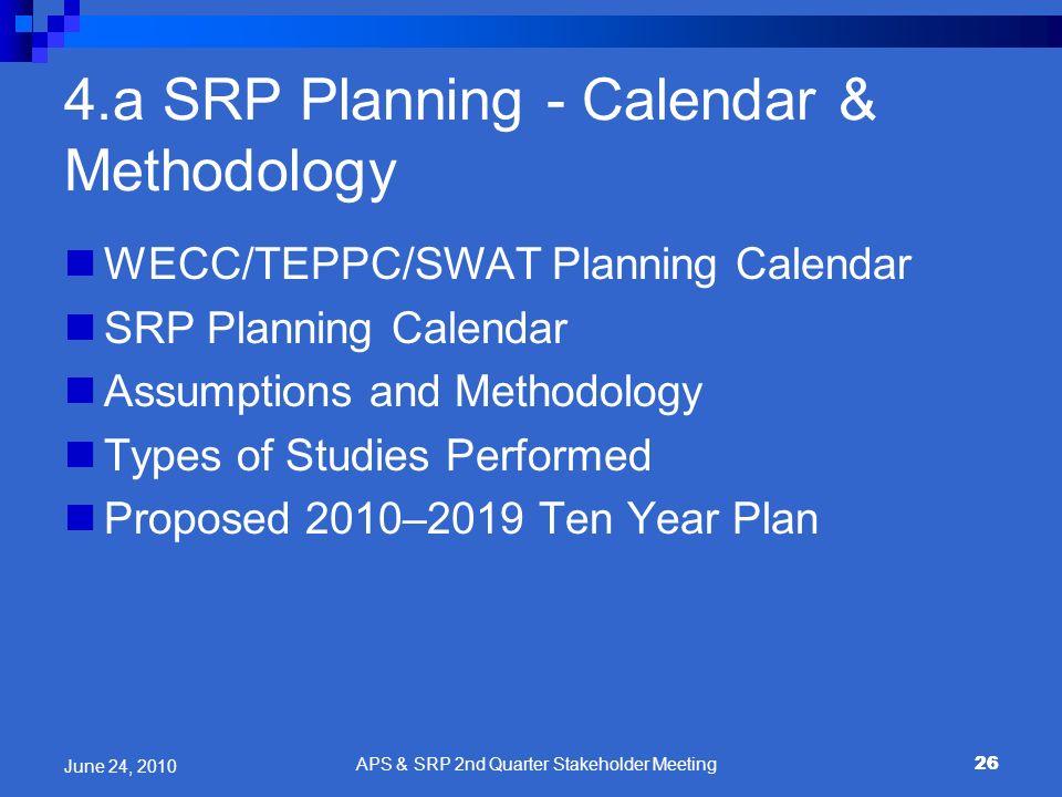 26 4.a SRP Planning - Calendar & Methodology WECC/TEPPC/SWAT Planning Calendar SRP Planning Calendar Assumptions and Methodology Types of Studies Perf