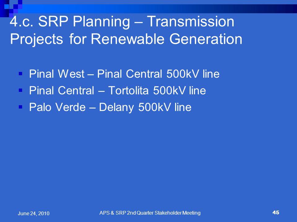 45 Pinal West – Pinal Central 500kV line Pinal Central – Tortolita 500kV line Palo Verde – Delany 500kV line 4.c. SRP Planning – Transmission Projects