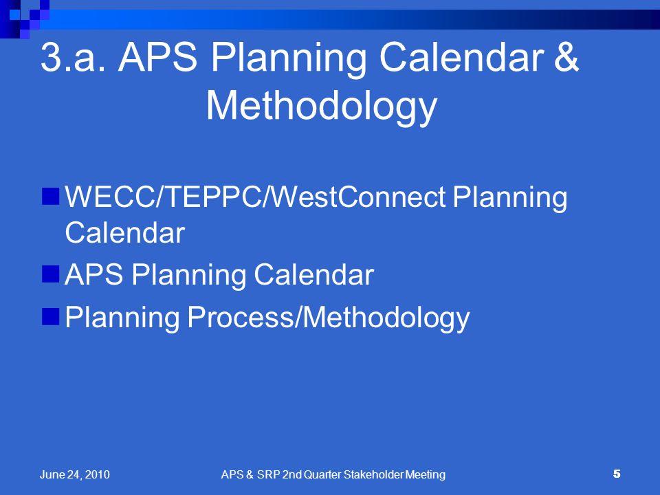 5 3.a. APS Planning Calendar & Methodology WECC/TEPPC/WestConnect Planning Calendar APS Planning Calendar Planning Process/Methodology 5 June 24, 2010