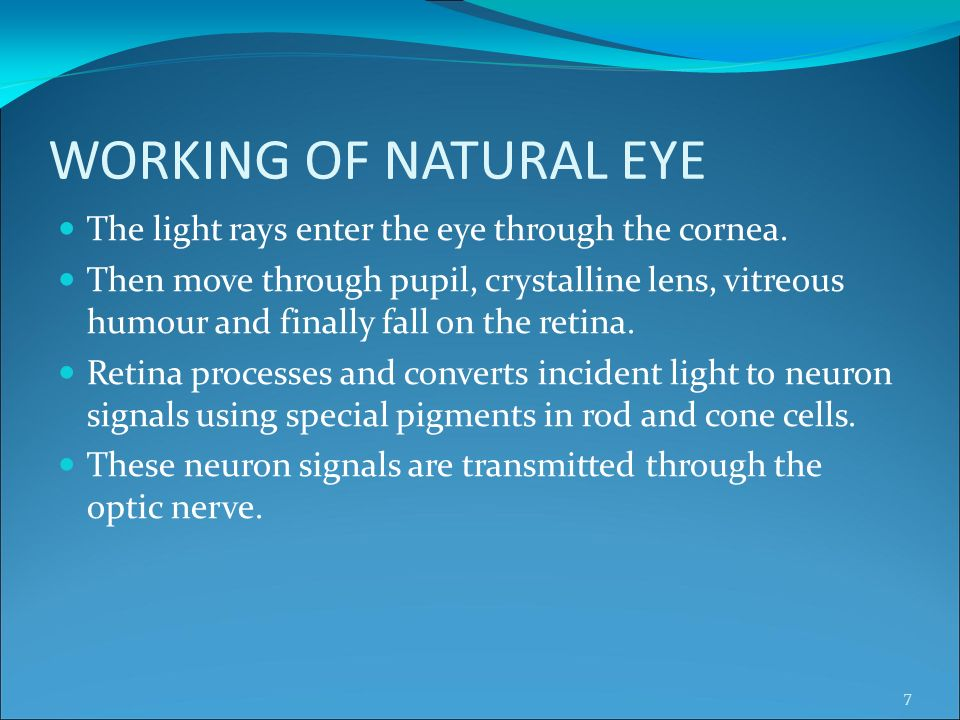WORKING OF NATURAL EYE The light rays enter the eye through the cornea.