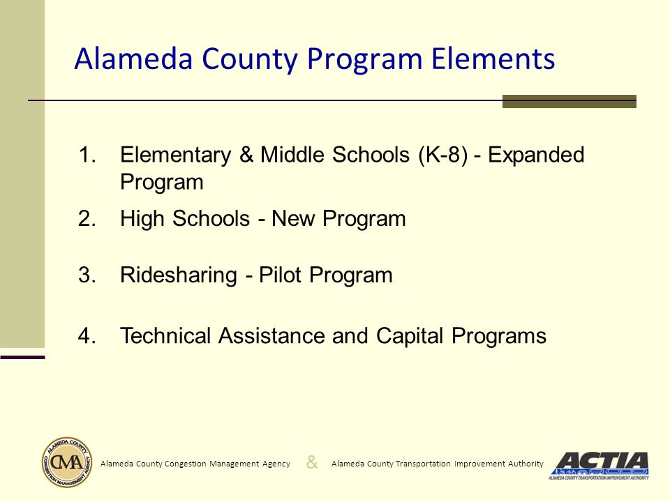 & Alameda County Transportation Improvement AuthorityAlameda County Congestion Management Agency Alameda County Program Elements 1.Elementary & Middle Schools (K-8) - Expanded Program 2.High Schools - New Program 3.Ridesharing - Pilot Program 4.Technical Assistance and Capital Programs