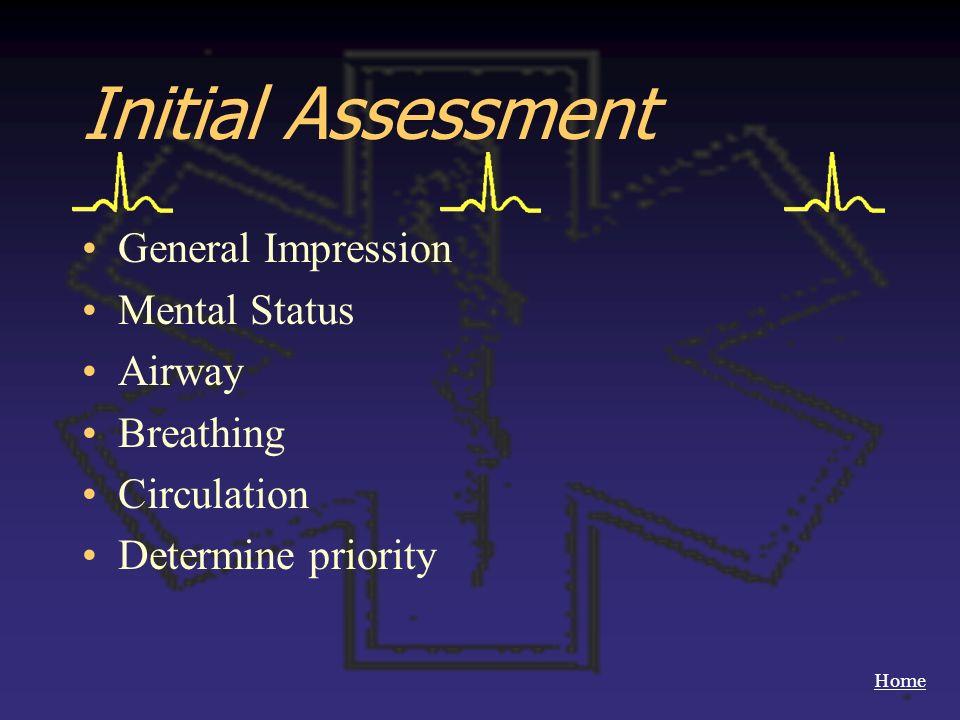 Home Initial Assessment General Impression Mental Status Airway Breathing Circulation Determine priority