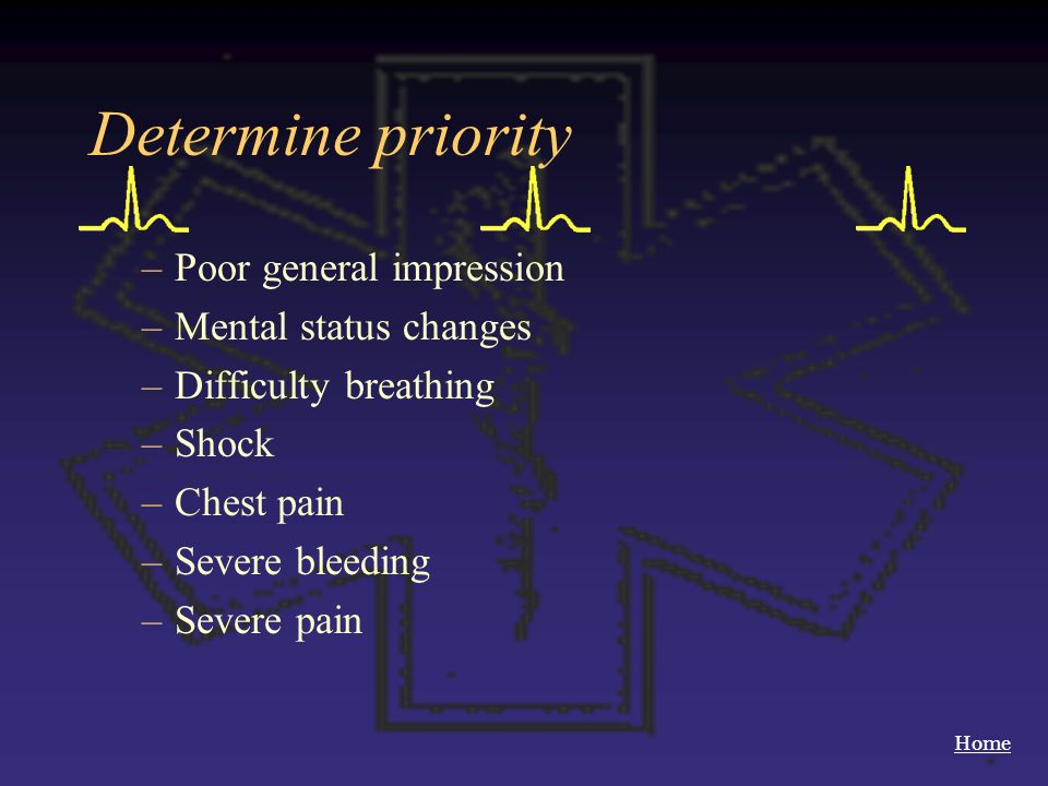 Home Determine priority –Poor general impression –Mental status changes –Difficulty breathing –Shock –Chest pain –Severe bleeding –Severe pain