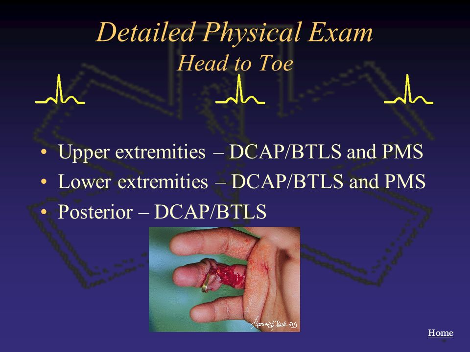 Home Detailed Physical Exam Head to Toe Upper extremities – DCAP/BTLS and PMS Lower extremities – DCAP/BTLS and PMS Posterior – DCAP/BTLS