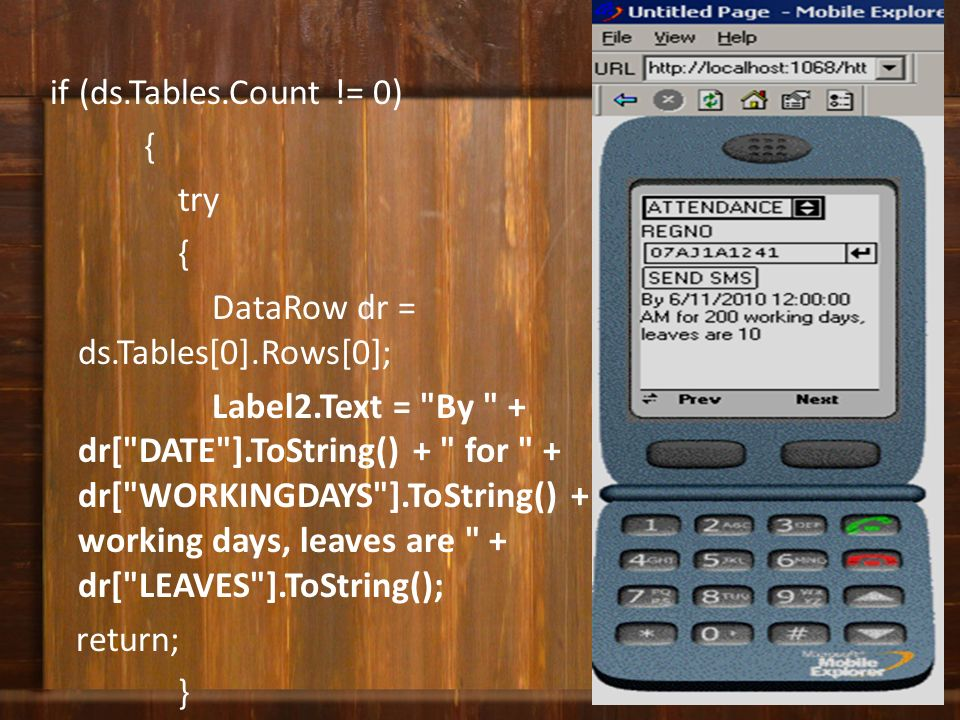 if (ds.Tables.Count != 0) { try { DataRow dr = ds.Tables[0].Rows[0]; Label2.Text =