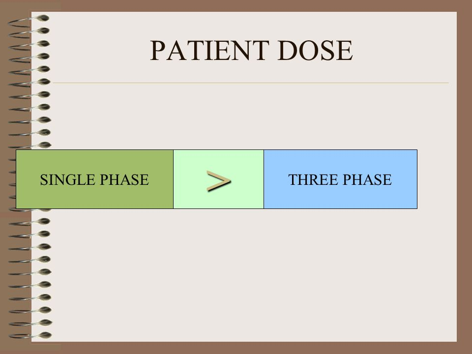 PATIENT DOSE SINGLE PHASETHREE PHASE>