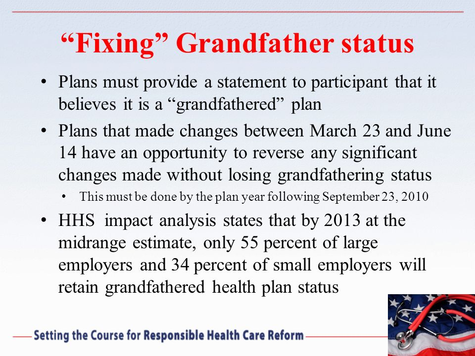 Fixing Grandfather status Plans must provide a statement to participant that it believes it is a grandfathered plan Plans that made changes between Ma