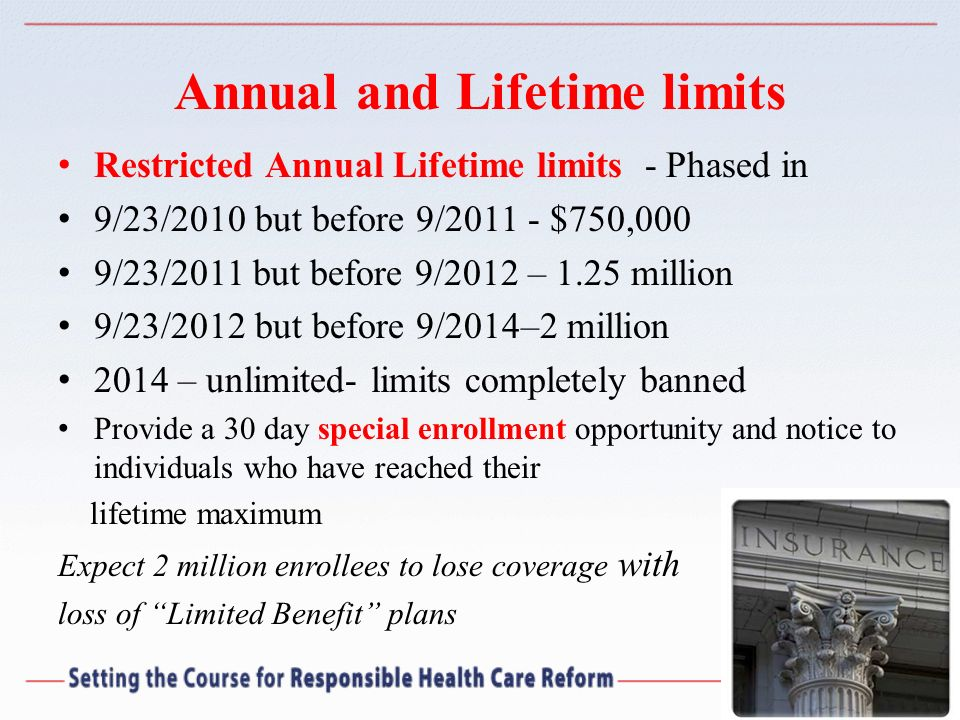 Annual and Lifetime limits Restricted Annual Lifetime limits - Phased in 9/23/2010 but before 9/2011 - $750,000 9/23/2011 but before 9/2012 – 1.25 mil