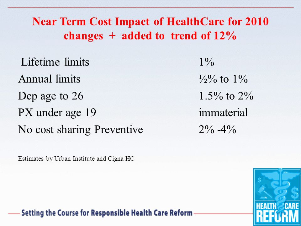 Near Term Cost Impact of HealthCare for 2010 changes + added to trend of 12% Lifetime limits 1% Annual limits ½% to 1% Dep age to 261.5% to 2% PX unde