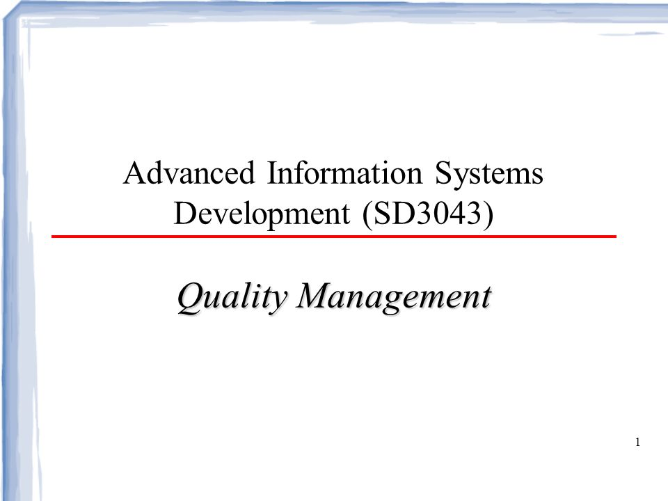 Objectives To introduce the quality management process and key quality management activities To explain the role of standards in quality management To explain the concept of a software metric, predictor metrics and control metrics To explain how measurement may be used in assessing software quality and the limitations of software measurement