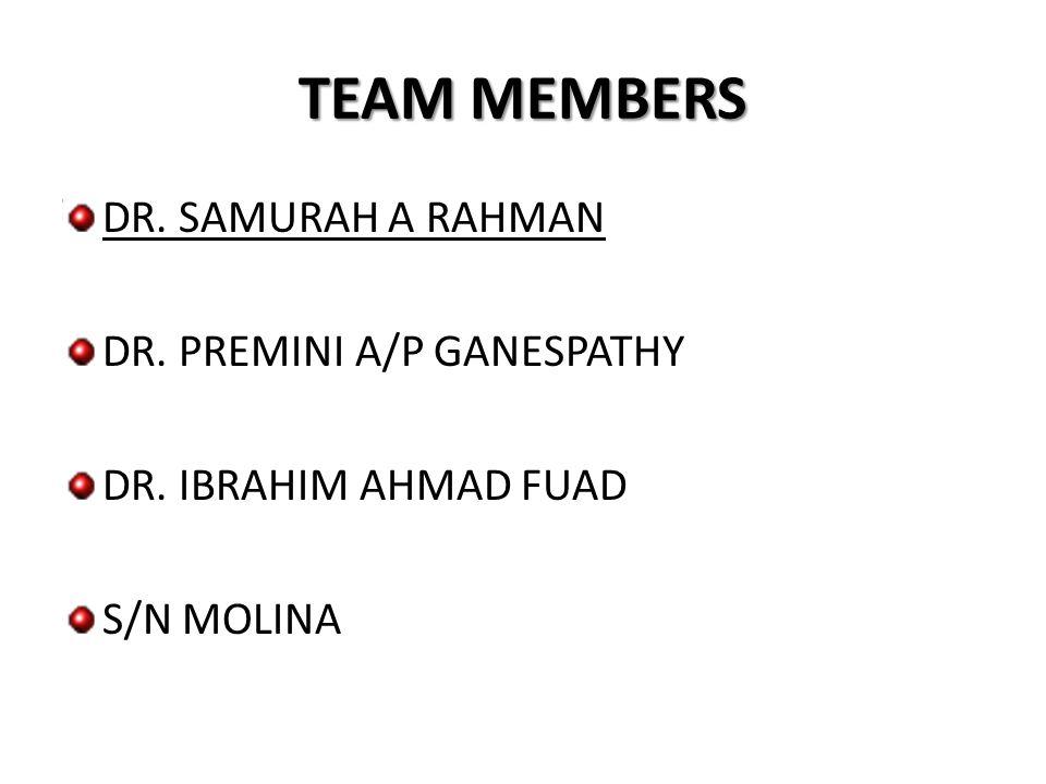 TEAM MEMBERS DR. SAMURAH A RAHMAN DR. PREMINI A/P GANESPATHY DR. IBRAHIM AHMAD FUAD S/N MOLINA